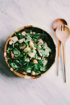 This no mayo potato salad with basil vinaigrette is a deeply flavorful, nutrition packed side dish. It's naturally vegan and gluten-free, making it the quintessential summer party crowd-pleaser.
