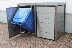 Mülltonnenbox Edelstahl mit Vierkantpfosten - komplett aus Edelstahl (V2A)