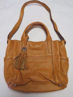 B. Makowsky Tan Brown Leather Purse Handbag Shoulder Bag w/ Tassel #BMakowsky #ShoulderBag