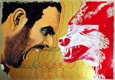 """""""Wolf Attitude"""" (2015) Artist: ARTURO GARCIA DE LAS HERAS Mixed media on board, A1"""