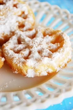 """Rosettes- Norwegian Cookies--A pinner wrote:"""" We made these every Christmas when I was a little girl. Cookie Desserts, Just Desserts, Cookie Recipes, Dessert Recipes, Health Desserts, Tea Cakes, Holiday Baking, Christmas Baking, Rosette Cookies"""