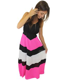 Black and Pink Maxi Dress � Serena