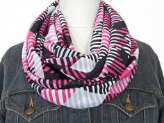 Pink Infinity Scarf Geometric Stripes Hot Pink by ModaBellaScarves