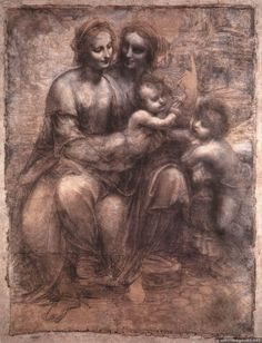 'The Virgin and Child with St Anne and St John the Baptist' Sometimes called 'The Burlington House Cartoon' a drawing by Leonardo da Vinci Charcoal, black and white chalk on tinted paper mounted on canvas. Dimensions: x : Location-National Gallery, London Chiaroscuro, Madonna Und Kind, Madonna And Child, Renaissance Kunst, High Renaissance, St Anne, Leonardo Da Vinci Biography, Burlington House, Giorgio Vasari