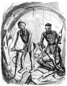 David Olère Working in a Tunnel at Melk by David Olère. 1947, 20x38 cm, Olère Family.   From Mauthausen, Olère was sent to dig tunnels at the camp of Melk on the Danube.
