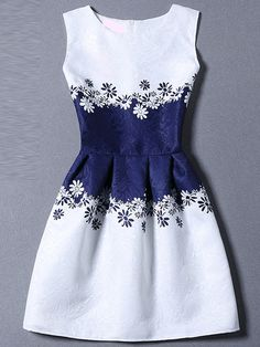 Blue White Sleeveless Floral A Line Dress -SheIn(Sheinside) Mobile Site