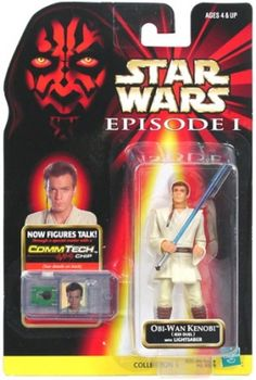 STAR WARS : Costumes and Toys : Star Wars Action Figure - Obi-Wan Kenobi Jedi Duel with Lightsaber - Episode 1 - with CommTech Chip