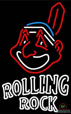 Rolling Rock Cleveland Indians Neon Sign MLB Teams Neon Light