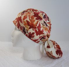 Autumn Leaves Scrub Ponytail Hat, Surgical Cap or Chef's Hat for longer hair-ScrubsWithMomAndMe by ScrubsWithMomAndMe on Etsy