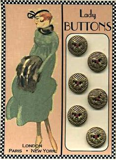 Lady with fur muff on buttons with bows button card