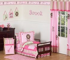 """Pink and Green Girls Jungle Toddler Bedding - 5pc Set  """"I want to win a toddlers or baby bedding set from http://beyond-bedding.com"""" or tag @Beyond Bedding"""