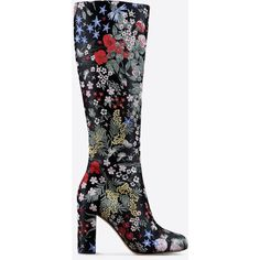 Valentino Boot (33,090 MXN) ❤ liked on Polyvore featuring shoes, boots, black, high heel boots, black side zip boots, side zipper boots, valentino boots et embroidered boots