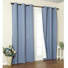 """Blue Weathermate Thermalogic Insulated Grommet Top Solid Color Curtain Pair  $99 for 2 80"""" panels at BBBeyond"""
