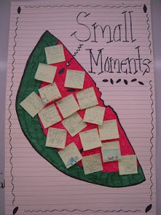 "How to Write ""Small Moment"" stories. includes pictures of the anchor chart she created! LOVE how she used a watermelon to teach the concept! This a perfect visual for our personal narratives Kindergarten Writing, Teaching Writing, Writing Activities, Teaching Ideas, Writing Resources, Help Teaching, School Resources, Literacy, Personal Narrative Writing"