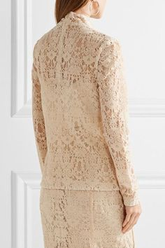 DKNY - Flocked Lace Top - Cream - US