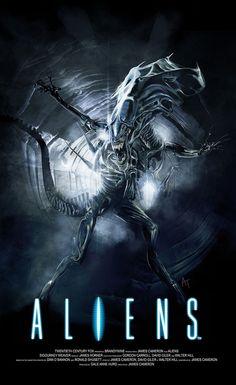 Aliens by Angel Trancon Arts - Home of the Alternative Movie Poster -AMP- Descubra 25 Filmes que Mudaram a História do Cinema no E-Book Gratuito em http://mundodecinema.com/melhores-filmes-cinema/