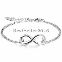 Damen Armband Armkette Infinity Zeichen Charm Armreif Fußkett Edelstahl