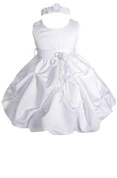 341d863c1 AMJ Dresses Inc BabyGirls White Flower Girl Christening Dress A1091 Sz S --  Wish to