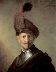 An Officer by Rembrandt van Rijn. Interesting because the background of original is of a darker shade.