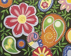 Social Artworking Canvas Painting Design - Paisley Fun