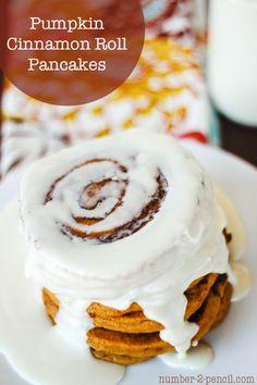 Pumpkin Cinnamon Roll Pancakes. Tender pumpkin pancakes with a buttery ...