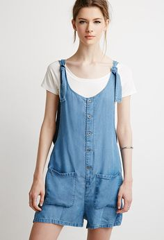 Life in Progress Buttoned Chambray Romper - Jumpsuits & Playsuits - 2000116262 - Forever 21 EU