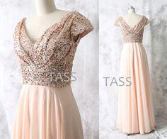 Rose Gold Sequin Chiffon Long Bridesmaid dress, Cap Sleeves Wedding dress, Long Chiffon Sequin dress, Party dress, V neck Formal Dress