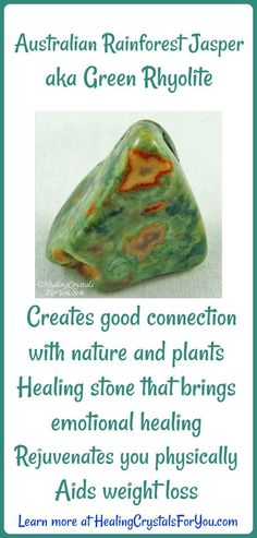 Australian Rainforest Jasper aka Green Rhyolite creates a connection with nature A healing stone that rejuvenates you physically, aids weight loss and helps emotional healing. Healing Crystals For You, Chakra Crystals, Healing Stones, Crystal Healing, Chakra Stones, Crystals Minerals, Rocks And Minerals, Crystals And Gemstones, Stones And Crystals