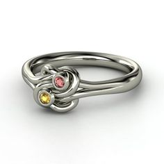 Sterling Silver Ring with Citrine & Red Garnet  - Lover's Knot Ring | Gemvara