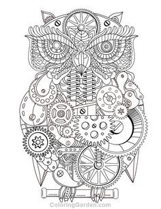 Free Printable Steampunk Owl Adult Coloring Page Download It In PDF Format At