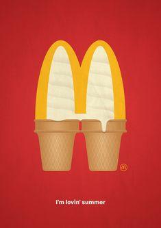 "McDonald's ""I'm Lovin' Summer"" ad campaign Creative Advertising, Advertising Design, Advertising Ideas, Summer Poster, Poster Ads, Retro Wallpaper, Advertising Campaign, Print Ads, Mcdonalds"