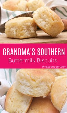 Grandma& Southern Buttermilk Biscuits This recipe is hands down the Best Ho. - Grandma& Southern Buttermilk Biscuits This recipe is hands down the Best Homemade Cinnamon Ro - Bread Machine Recipes, Easy Bread Recipes, Baking Recipes, Grandma's Recipes, Juice Recipes, Pudding Recipes, Dinner Recipes, Breakfast Recipes, Gastronomia