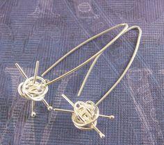 Knit me somethin' earrings - knitting earrings, gift for knitter, for the love of knitting, sterling silver handmade