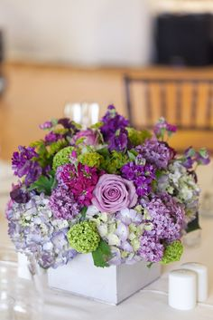 purple and green wedding centerpiece