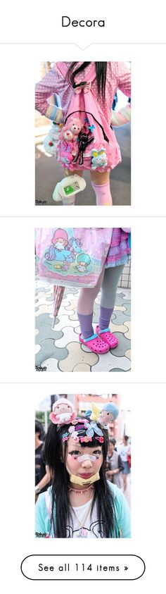 """""""Decora"""" by clownqueen ❤ liked on Polyvore featuring intimates, hosiery, tights, stripe tights, mint green tights, striped tights, striped stockings, neon pink tights, accessories and lolita"""