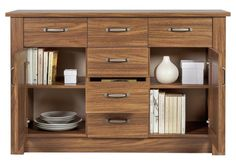 Side Board Cabinet Storage Unit Cupboards Doors Drawers Shelves Walnut Furniture