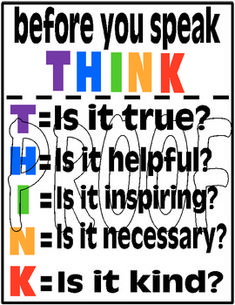 This poster was created to encourage students to think before they speak.  I printed it on card stock and laminated it. It hangs in my classroom as a reminder to think before you say something hurtful about someone else.  I think it has had a positive impact. : )  Thank you! LTodhunter Creations