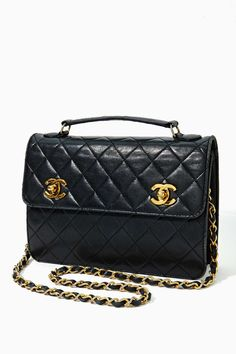 Vintage Chanel Quilted Black Leather Satchel