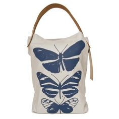Cute butterflies tote for summer: organic cotton with vegetable-dyed leather handles.