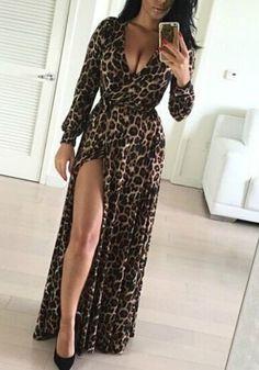 Coffee Leopard Side Silt Plunging Neckline Thigh Split Sexy Maxi Dress