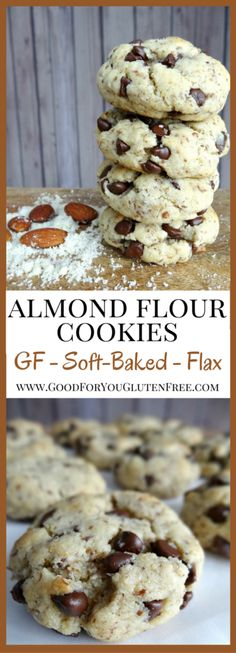 You gotta try these Three-Bite Almond Flour Cookies - Soft-baked, Gooey Gluten-Free Chocolate Chip Cookie Recipe - Good For You Gluten Free paleo dessert valentine Almond Flour Cookies, Gluten Free Chocolate Chip Cookies, Almond Flour Recipes, Gluten Free Cookies, Gluten Free Baking, Gluten Free Desserts, Gluten Free Recipes, Keto Cookies, Buckwheat Recipes