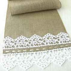Burlap table runner with hand crouched  white lace wedding