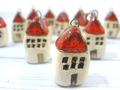 Jewelry making - Tiny rustic house pendant little cottage charm Ceramic jewelry Ceramic house pendant  Little house Beach cottage. $16.00, via Etsy.
