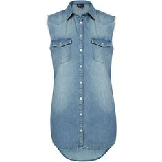 MOTO XL Sleeveless Denim Shirt ($64) ❤ liked on Polyvore featuring tops, shirts, topshop, jeans, tank tops, fray shirts, blue top, no sleeve shirt, frayed denim top and blue sleeveless top