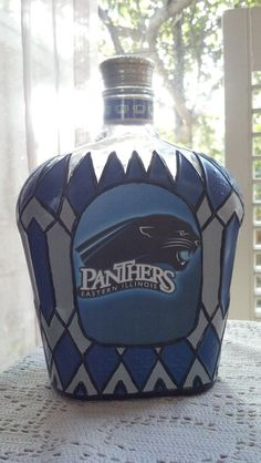 Items similar to Eastern Illinois University Panthers Football Crown Royal Hand Painted College upcycled glass Liquor bottle OOAK on Etsy Carolina Panthers Football, Football Baby, Panther Football, Baseball, Panther Pictures, Crown Bottle, Eastern Illinois, Baby Boy Baptism Outfit, Panther Nation