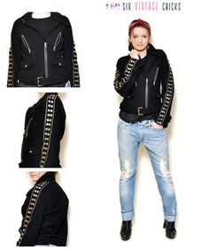 studded Jacket women rock and roll clothing rocker jacket 90s clothing biker vintage Festival clothing Vintage black Size S by SixVintageChicks on Etsy