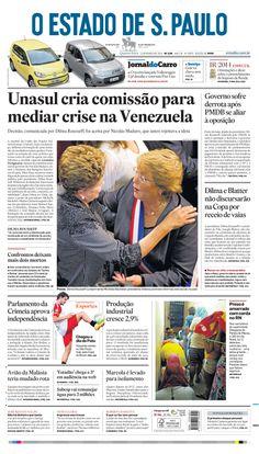 Capa de hoje: Unasul cria comissão para mediar crise na Venezuela http://oesta.do/1kLKcNr