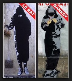 Parisian artist Xavier Prou, pictured, who works under the name Blek le Rat, claims he invented the life-sized stencil technique that Banksy would later use to make his name. Amazing Street Art, Amazing Art, Blek Le Rat, Les Rats, Banksy Art, Bansky, Beaux Arts Paris, Stencil Graffiti, Principles Of Art