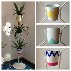 Thought I'd share an easy DIY project that I did for a client a few months ago. The brief was happy and colourful. My favourite! I picked up this 3-tier plant stand from Ikea, and painted free-hand...