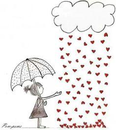 It's raining hearts pencil drawing illustration Umbrella Art, Under My Umbrella, Zentangle, Heart Art, Cute Illustration, Doodle Art, Whimsical, Doodles, Clip Art